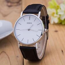 New Men Women Geneva Fashion Leather Analog Stainless Steel Quartz Wrist Watches