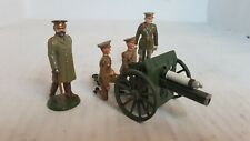 4 Metal Toy Soldiers- World War 1 British Soldiers With Cannon (158)