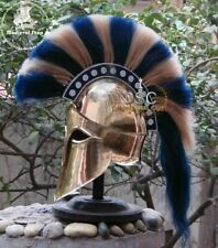 Medieval Greek Corinthian Armour Helmet Blue & White Plume Knight Spartan