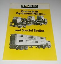 York Custom Built Equipment remorques/corps repli brochure notice rare