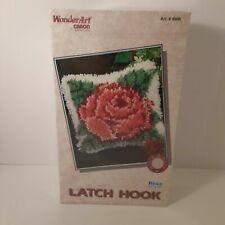 "New listing Wonder Art Latch Hook Kit Vtg Rose 4606 Caron Craft Pillow 12""x12"" New Sealed"