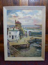 Vintage Reginald C Chapman Mevagissy Cornwall framed signed oil painting 1950