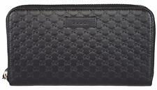 New Gucci Women's 449391 Black Leather Micro GG Guccissima Zip Around Wallet