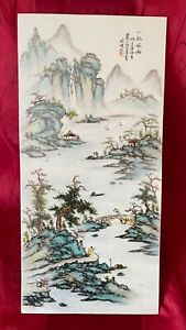 Big Beautiful antique Chinese republic famille rose porcelain plaque landscape