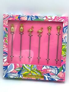 Lilly Pulitzer 6 Appetizer Picks Havana Cocktail GWP Gold Pineapple Flamingo