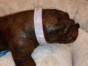 """Medium Swarovski Crystal Pink Nylon Dog Collar fits 14-18"""" necks"""