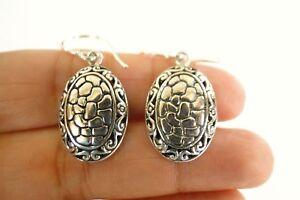 Oval Ornate Plain Silver No Stone Balinese 925 Sterling Silver Dangle Earrings