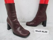 Kenneth Cole New York Burgundy Leather Zip High Heel Ankle Boots Size 36.5 EUR