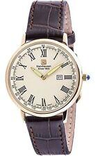 Steinhausen Men's Altdorf Gold Tone Stainless Steel Brown Leather Watch S0124