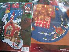"""Bucilla Felt O' HOLY NIGHT 42"""" Tree Skirt + 18"""" Stocking Kits Christmas NEW"""