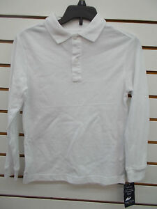 Boys Nautica $28 White Uniform Long Sleeved Polo Shirt Size 6 - 14/16