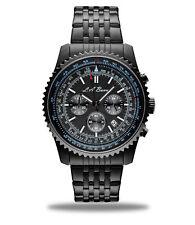 Mens LA Banus Black Chronograph Wrist Watch Stainless Steel - NEW
