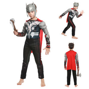 Kids Muscle Thor Cosplay Costumes Avengers Superhero boy Halloween Dress Up Mask