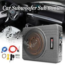 "10"" Inch Car Subwoofer Amplifier Enclosure Sub Woofer Slim Amp Audio Bass 600W"