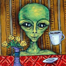 ALIEN at the cafe coffee shop art tile coaster gift gifts 6x6