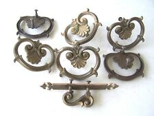 Antique Dresser Brass Drawer Pulls 6 Pcs. Cabinet Handle 1 Pc. Used