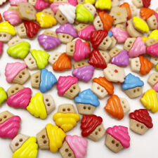 100pcs 15MM Ice-cream Flatback Plastic Buttons DIY Scrapbooking Children's PT192