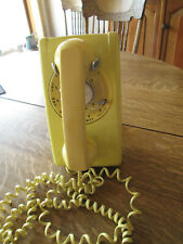 1970's HARVEST GOLD YELLOW WALL PHONE 554 ROTARY DIAL WESTERN ELECTRIC