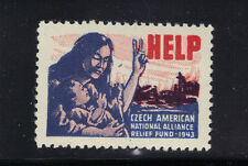 1943 Stamp Czech American National Alliance Relief Fund WWII Charity Seal MNH