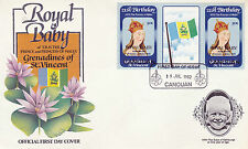 CANOUAN 1982 BIRTH OF PRINCE WILLIAM 50c GUTTER PAIR FIRST DAY COVER (b)