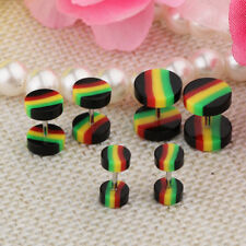 Steel Earring Stud Stretcher Cheater 18G 6Pcs Fake Ear Plug Tunnel Single