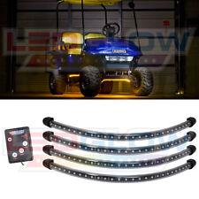 4pc LEDGLOW YELLOW LED GOLF CART UNDERBODY 12v LIGHT KIT CLUB CAR w CONTROL BOX