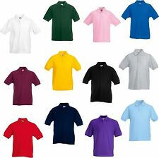 Boys Girls Kids Unisex Plain Summer Polo T Shirt 3-14 Years School Uniform UK