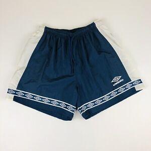 Vintage 90s Navy Blue Umbro Soccer Football Nylon Sports Shorts M USA made
