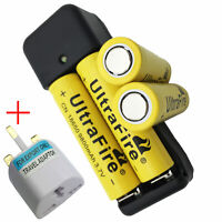 4pcs 9800mAh Battery 18650 3.7V Li-ion Rechargeable with Charger + UK Adapter CN