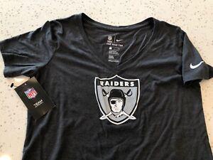 NWT Women's Small Oakland Raiders Las Vegas Nike Athletic Cut Shirt Tri Blend