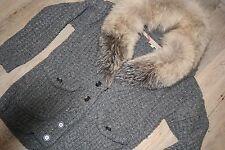 BURBERRY BRIT Grigio Lana Cardigan Lavorato a Maglia con colletto di pelliccia di volpe taglia M-in buonissima condizione!