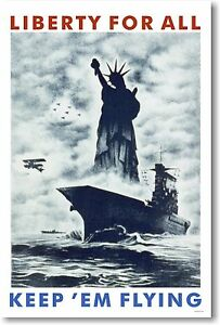 Liberty For All - Keep 'Em Flying - NEW Vintage WW2 Reproduction POSTER