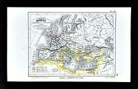1877 Vuillemin Map - Empire of Justinian - Vandals Franks Saxons Visigoth Europe