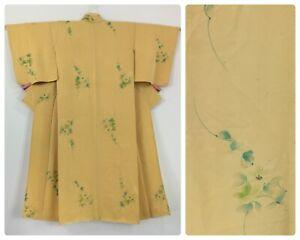 Japanese women's kimono, mellow yellow silk, S-M, short, Japanese fabric (J2925)