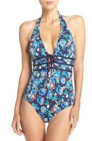 Tommy Bahama Halter One-Piece Swimsuit TSW32810P Mare Navy Blue Print 16