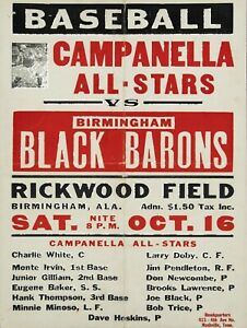 Negro Baseball League NEW REPRO Metal Sign: Black Barons V. Campanella All Stars