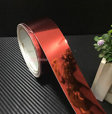 "Bid 1.2"" x 60"" Red Flat Car Glossy Mirror Chrome Vinyl Wrap Tape Sticker CRAW"