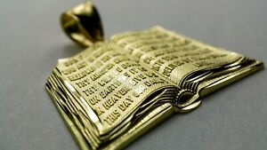 Authentic 10K Yellow Gold Bible Charm Pendant for Christians 2 Sizes