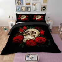 Gothic Skull Rose Duvet Cover with Pillow Cases Bedding Set Single Double King