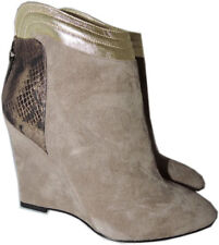 $575 MARVIN K for Aquatalia Boots Wedge Beige Suede Ankle Booties Shoes 6.5