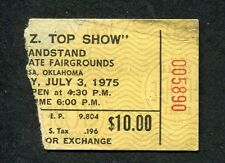 1975 Zz Top Concert Ticket Stub Tulsa Oklahoma Fairgrounds Fandango Tour