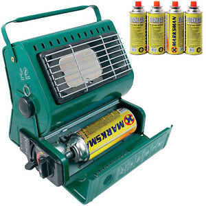 PORTABLE GAS HEATER OUTDOOR CAMPING FISHING + 4 BUTANE GAS BOTTLES CANISTERS NEW