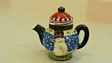 Me Ink Mary Engelbreit Enesco Miniature Ceramic Teapot Snowman Trinket Box
