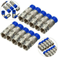 10x RG6 F Compression Connector Coax Cable Coaxial Fitting Compression Tool  TP#