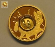 2003 Cook Is. Gold plated Silver w/Gemstones $1 Zodiac- Scorpio/Aquamarine