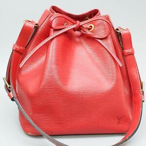 LOUIS VUITTON PETIT NOE Drawstring Shoulder Bag Purse Epi M44107 Castilian Red