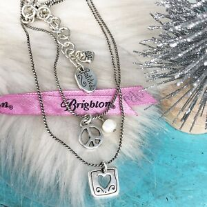 Brighton Love & Peace Charm Layered Necklace Silver Plate Peace Sign Pearl Heart