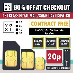 VOXI Sim Card - 15GB Data + Unlimited Calls & Texts for £15 PAYG Trio Sim -
