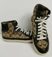 COACH Ellis Signature Sneakers KHAKI/CHESNUT Hightop SIZE 8 B
