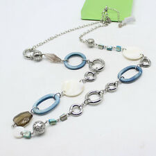"""LIA SOPHIA SILVER TONE BLUE RESIN MOTHER OF PEARL 35""""-38"""" NECKLACE NWT"""